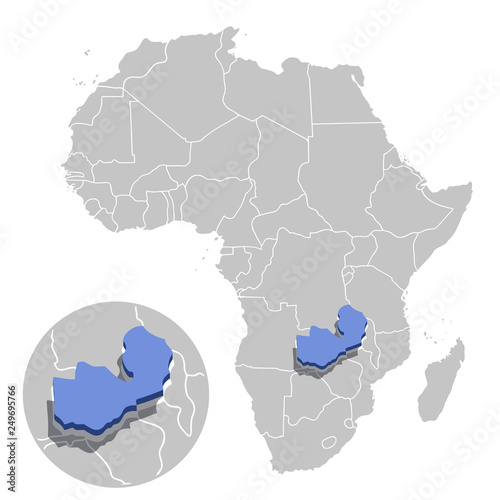Vector Illustration Of Zambia In Blue On The Grey Model Of Africa