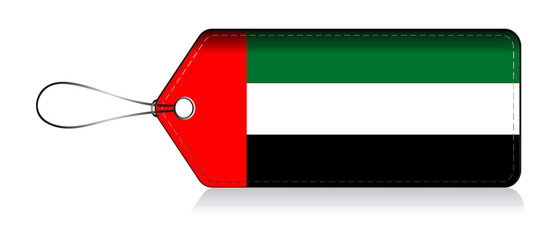 United Arab Emirate flag label, tag of product made in united arab emirate