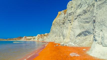 Xi Beach, Kefalonia Island, Greece. Beautiful view of Xi Beach, a beach with red sand in Cephalonia, Ionian Sea.