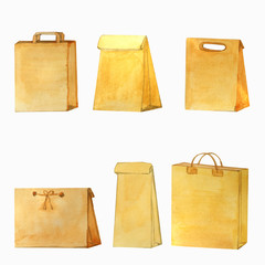 watercolor set of craft empty bags and packages of various sizes, with handles and without handles
