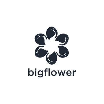 elephant Flower Logo abstract Beauty Spa salon Cosmetics brand Linear style. Looped Leaves Logotype design vector Luxury Fashion template.