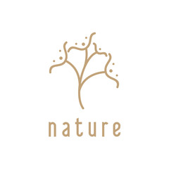Vector logo of nature. Simple logotype of winter garden, round lake. Outline icon landscape with trees,