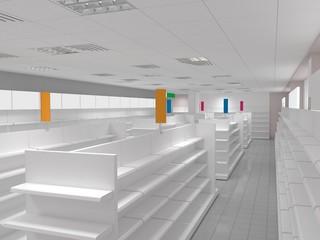 shop, store, shopping mall, interior visualization, 3D illustration