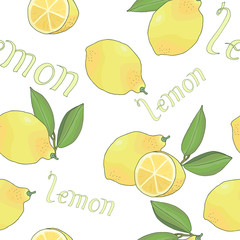 seamless pattern with tasty ripe lemons green leaves and lettering vector illustration