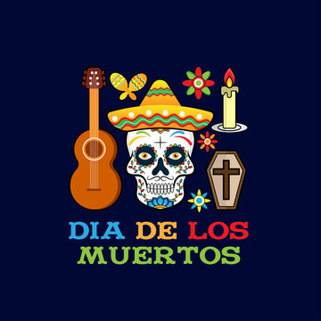 Day of the dead, Dia de los moertos, banner with colorful Mexican flowers. Fiesta, holiday poster, party flyer, funny greeting card - Vector