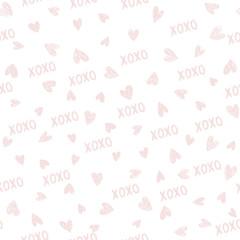 XOXO brush lettering signs seamless pattern with hearts, hugs and kisses phrase, Internet slang abbreviation XOXO symbols, vector illustration.