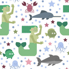 Seamless pattern with mermaid and sea life