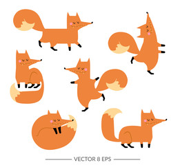 Cute vector foxes