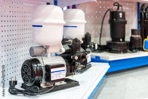 Close up high technology water jet pump with pressure tank