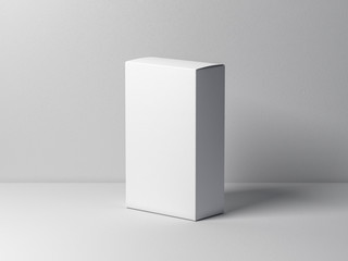 White cardboard box mockup on white table