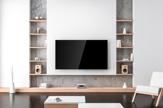 Large Smart Tv Mockup hanging on the white wall with shelves in modern living room