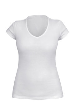 Empty white V neck T-shirt for woman isolated