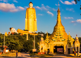 The Laykyun Sekkya Buddha giants statues standing and reclining near Monywa Myanmar (Burma)