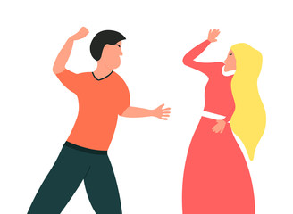 Violence in family. Husband wants to punch his wife.The guy wants to hit his girl Vector illustration