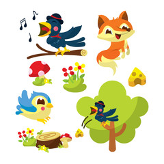 The Fox and The Crow Illustration Character