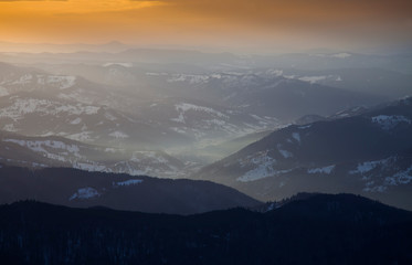 sunset in the valley, Romanian Carpathians