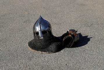 An helmet is seen before the Buhurt Prime tournament of medieval martial fights in real armours and steel swords in Monaco
