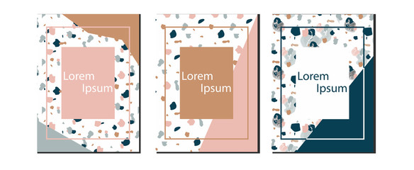 Blog templates with terrazzo texture. Granite textured shapes in vibrant colors