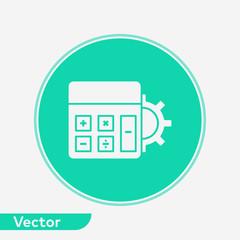 Calculator with gear vector icon sign symbol