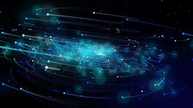 Simulation of galaxy light motion of stars in dark background, future energy and data technology of cyber programming concept in blue theme for presentation abstract background used.