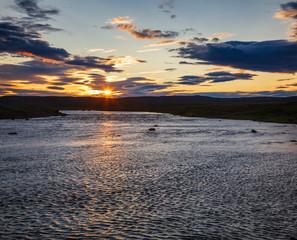Icelandic summer landscape with Midnight sun phenomenon Iceland Scandinavia