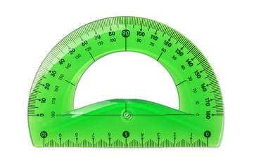 Green plastic protractor