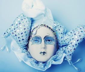 Blue mask close up