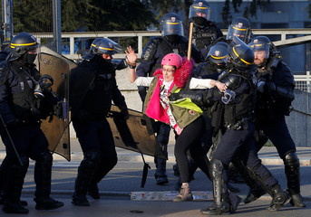 """A protester is pushed back by police during a demonstration of the """"yellow vests"""" movement in Nantes"""