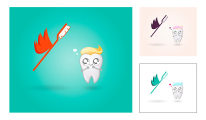 White healthy tooth and toothbrush in love. Cute cartoon illustration