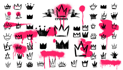 Mega Set of Crown logo graffiti icon. Black elements Freehand drawing. Vector illustration. Isolated on white background.