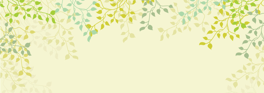 Spring background of ivy vines and leaves on pretty floral yellow or beige border, editable vector decoration