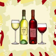 Wine set vector sketch. Hand drawn alcoholic collection menu illustration. Vector image