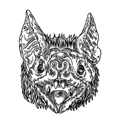 Bat head or face drawing. Gothic illustration of monsters for the Halloween. Witchcraft magic, occult attributes decorative elements. Drawing of night creatures.