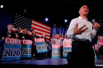 Democratic 2020 U.S. presidential candidate Cory Booker speaks during a campaign stop in Portsmouth