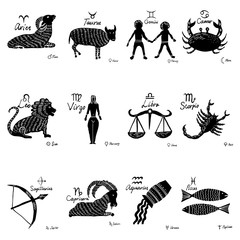 The zodiac set. 12 horoscope constellations with connected symbols, drawings and planets with names. Vector.