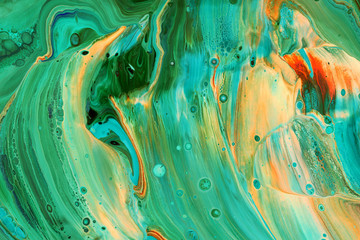 Abstraction of emerald green paint