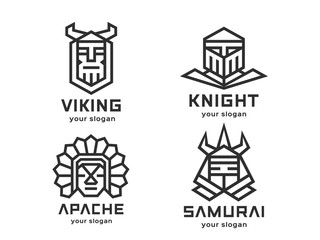 Set of 4 vector logos. Abstract warriors. Linear style. Black-and-white version on a light background.
