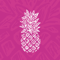 Modern Pineapple Shape. Exotic Tropical Summer Fruit.