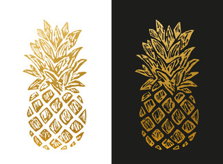 Modern Golden Pineapple Shape.