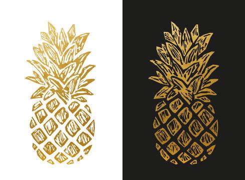 Modern Golden Pineapple Shape.