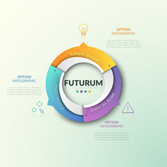 Fototapeta Ring chart divided into 3 sectors with arrows pointing at thin line icons and text boxes. Futuristic infographic design template. Three features of cyclical process concept. Vector illustration. obraz