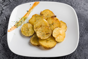 fresh healthy baked delicious baked potato on white plate