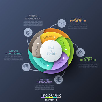 Circular chart divided into 5 lettered spiral pieces connected with thin line symbols and text boxes. Visualization of cyclic process with five steps. Infographic design layout. Vector illustration.