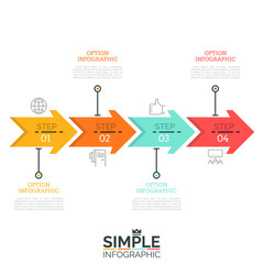 Four numbered arrows successively connected into horizontal line, pictograms and text boxes. Step-by-step manual visualization concept. Minimalistic infographic design template. Vector illustration.