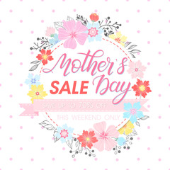 Mothers Day special offer.Mothers Day - Hand painted lettering with floral elements,leaves and flowers. Mothers Day sale banner perfect for prints,flyers,cards,promos,holiday invitations and more.