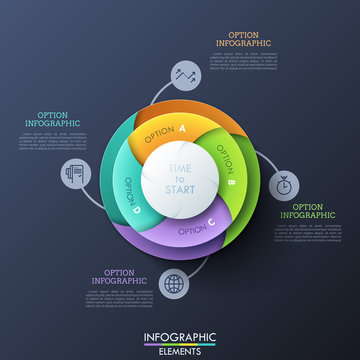 Pie chart divided into 4 colorful spiral parts connected with thin line pictograms and text boxes. Concept of four options to choose. Modern infographic design layout. Vector illustration for report.