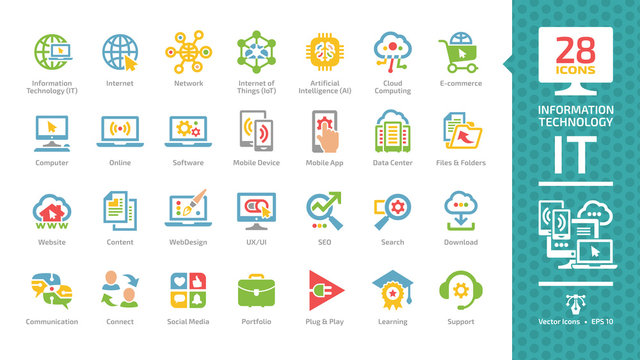 Information technology color glyph icon set with IT network communication system, computer tech, data center, web internet service, social media, portfolio, plug & play, learning and support pictogram