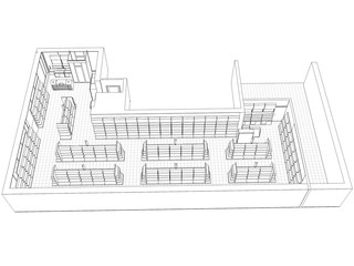 shop, store, contour visualization, 3D illustration, sketch, outline