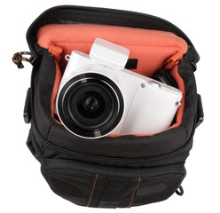 white photo camera in case isolated