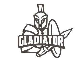 Gladiator logo. Vector format, available for editing. Black and white variant. White background.